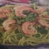 spaghetti gamberi e fave